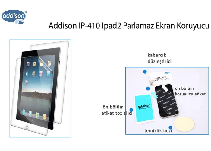 Addison IP-410 iPad2 Mat Ekran Koruyucu