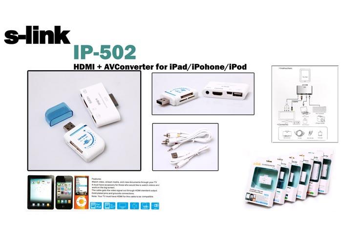 S-link IP-502 Ipod / Iphone / Ipod HDMI + AV Connector