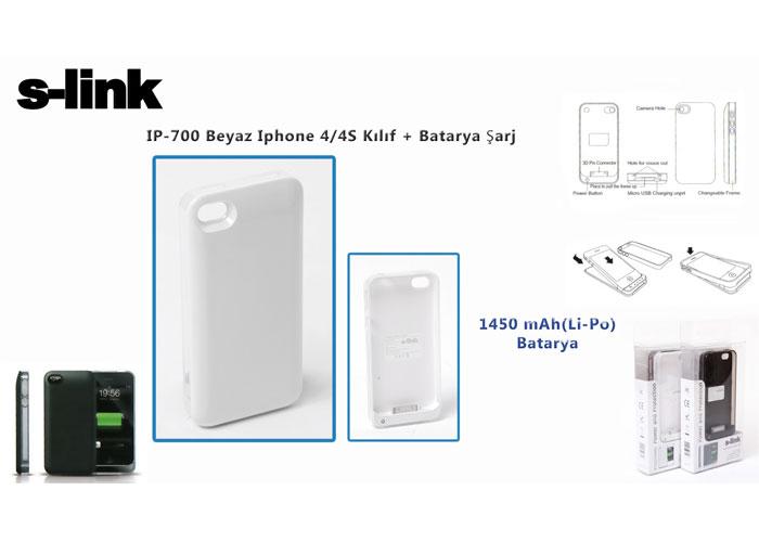 S-link IP-700 Beyaz Iphone 4/4S Kılıf + Batarya Şarj