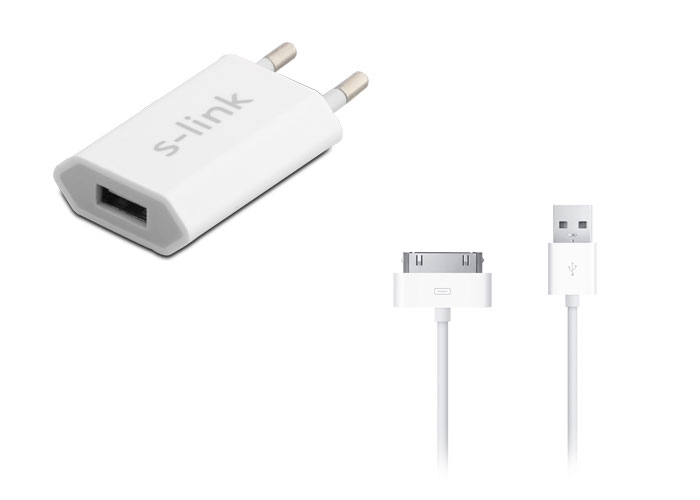 S-link IP-824 1A iPhone 4 Home Charger + 1A Data Cable