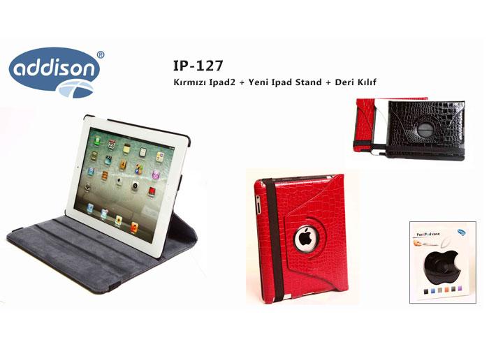 Addison IP-127 Kırmızı Stand + Deri Kılıf Ipad2 + Yeni Ipad