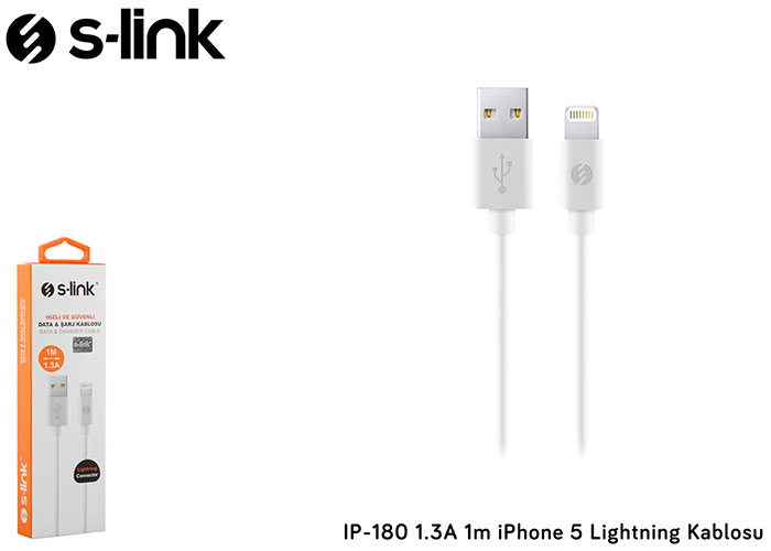 S-link IP-180 1.3A 1m iPhone 6 Lightning Kablosu