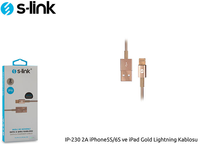 S-link IP-230 2A iPad/iPhone Lightning Gold Kablosu