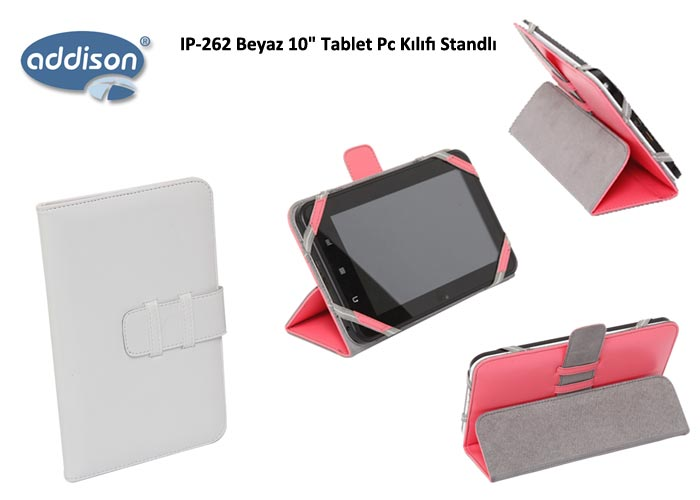 Addison IP-262 Beyaz 10 Tablet Pc Kılıfı Standlı