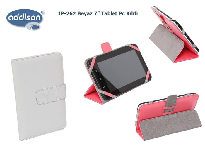 Addison IP-262 Beyaz 7 Tablet Pc Kılıfı Standlı