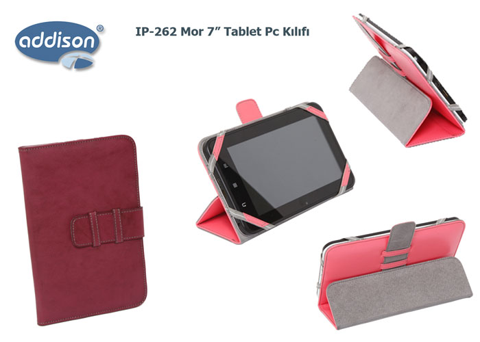 Addison IP-262 Mor 7 Tablet Pc Kılıfı Standlı