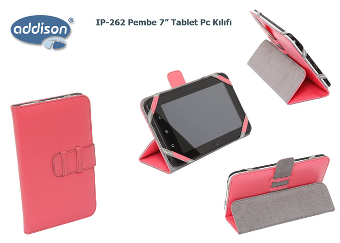 Addison IP-262 Pembe 7 Tablet Pc Kılıfı Standlı