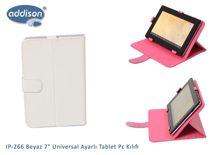 Addison IP-266 Beyaz 7 Universal Ayarlı Tablet Pc Kılıfı