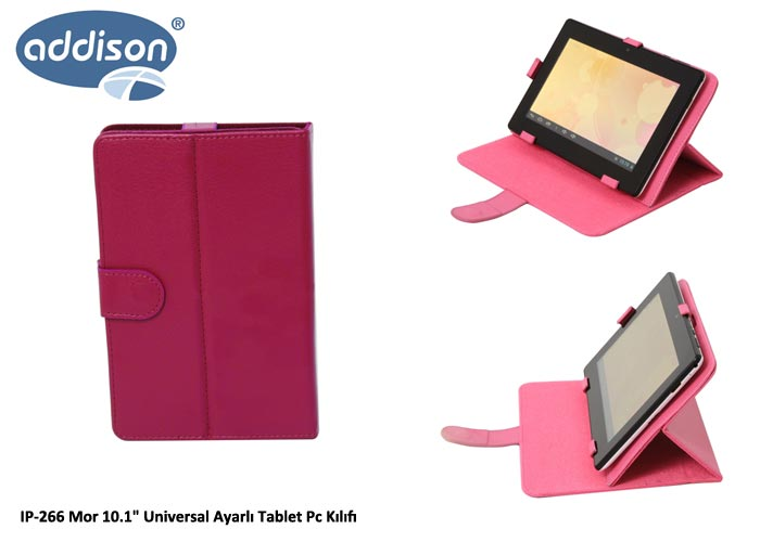 Addison IP-266 Mor 10.1 Universal Ayarlı Tablet Pc Kılıfı