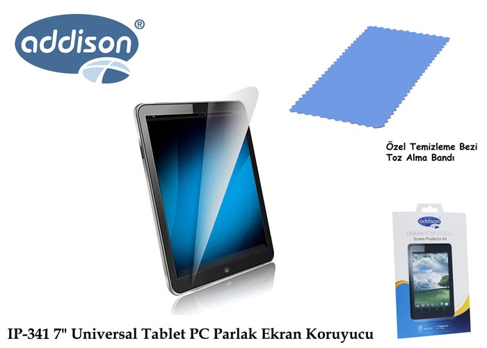 Addison IP-341 Universal Tablet PC 7 Parlak Ekran Koruyucu