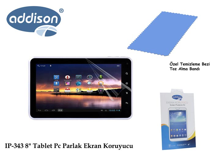 Addison IP-343 8 Samsung Galaxy Tab3 Ultra Şeffaf Ekran Koruyucu