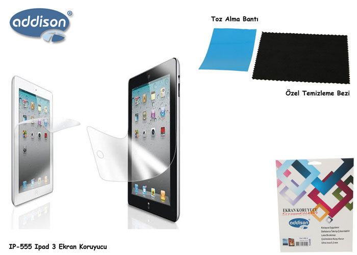 Addison IP-555 iPad 3 Parlak Ekran Koruyucu