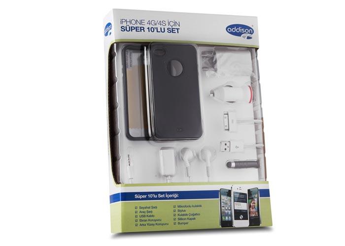 Addison IP-589 Siyah Iphone 4G/4S Kılıfı Süper 10lu Set
