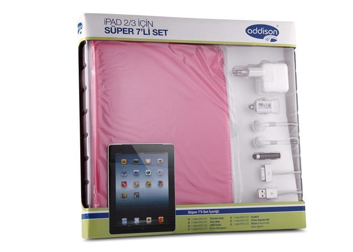 Addison IP-593 Pembe Ipad 2  3 Tablet Pc Kılıfı Süper 7li Set