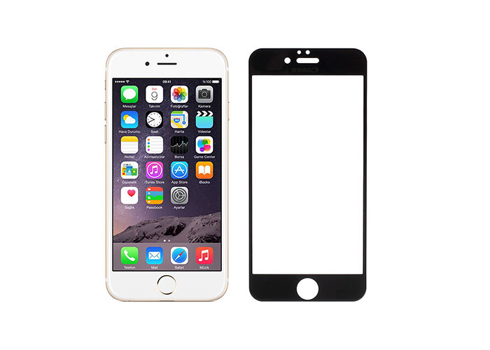 Addison IP-854 Tempered Glass 0.3mm Siyah iPhone 6S Plus Full Cover Cam Ekran Koruyucu