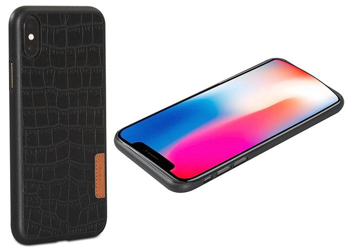 Addison IP-882 Siyah iPhone X Deri Desenli Telefon Kılıfı