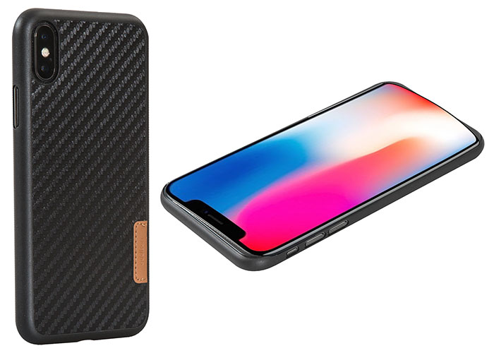 Addison IP-883 Siyah iPhone X Carbon Desenli Telefon Kılıfı