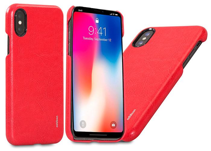 Addison IP-885 Kırmızı iPhone X Deri Telefon Kılıfı