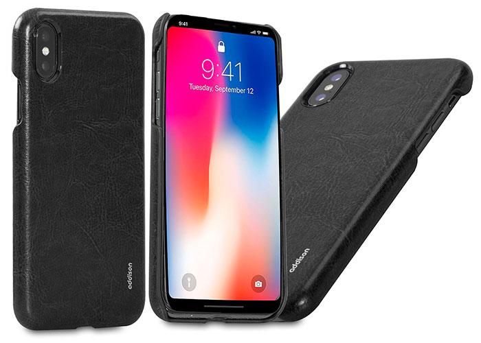 Addison IP-885 Siyah iPhone X Deri Telefon Kılıfı