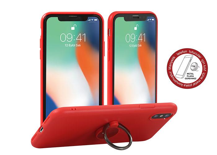Addison IP-886 Soft Standlı Kırmızı iPhone X Telefon Kılıfı