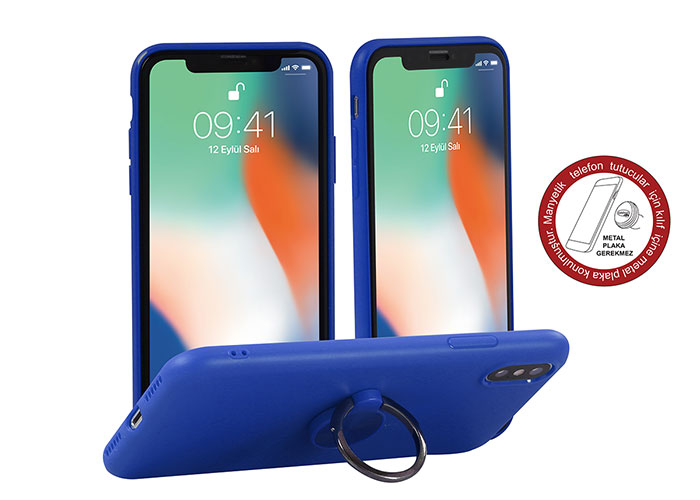 Addison IP-886 Soft Standlı Mavi iPhone X Telefon Kılıfı