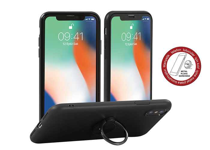 Addison IP-886 Soft Standlı Siyah iPhone X Telefon Kılıfı