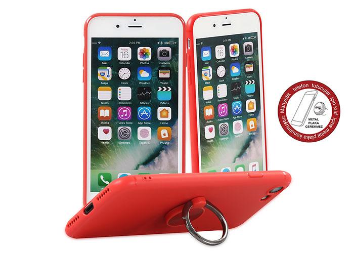 Addison IP-887 SoftStandlı KIrmızı iPhone 7/8 Telefon Kılıfı