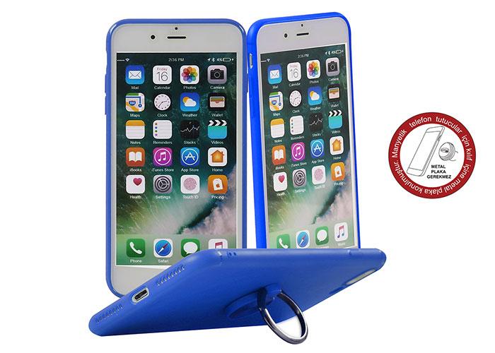 Addison IP-887 Soft Standlı Mavi iPhone 7/8 Telefon Kılıfı