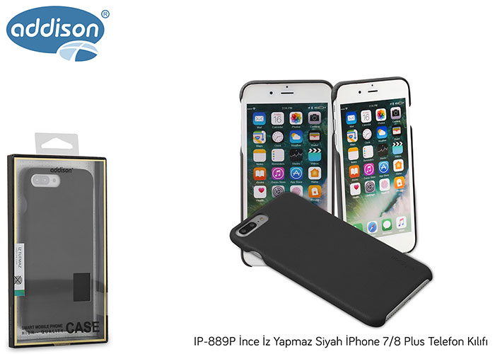 Addison IP-C889P Siyah iPhone 8 Plus Glass Telefon Kılıfı