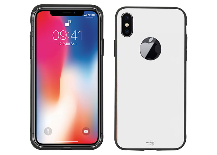 Addison IP-890 Beyaz iPhone X Glass Telefon Kılıfı