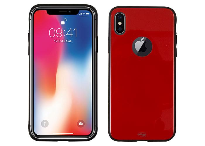 Addison IP-890 Kırmızı iPhone X Glass Telefon Kılıfı