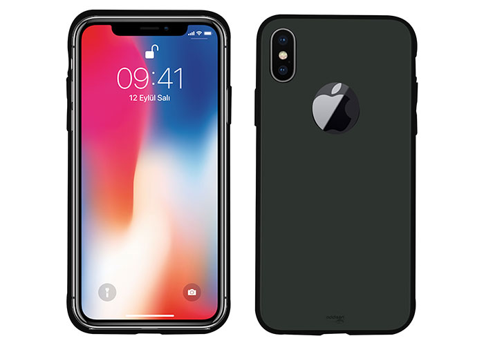 Addison IP-890 Siyah iPhone X Glass Telefon Kılıfı