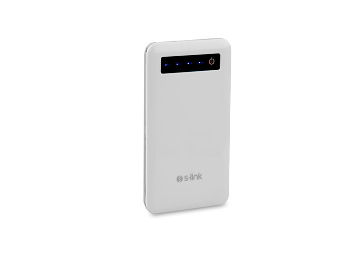 S-link IP-M40 4000mAh Aluminum Slim Power bank White Portable Battery Charger