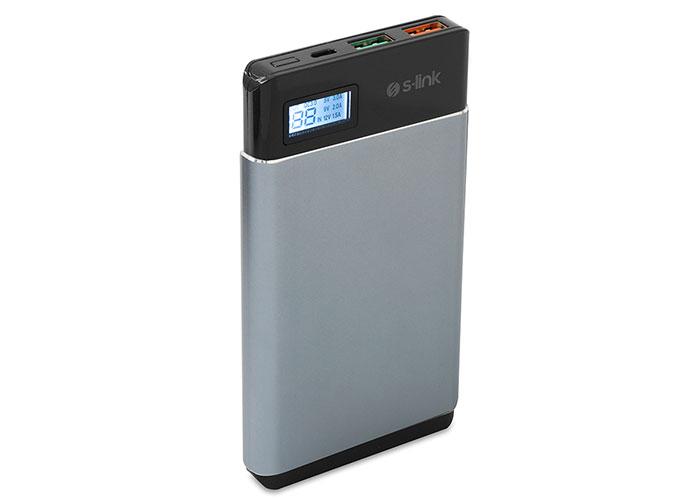 S-link IP-QC3-10 10000mAh Qualcomm 3.0 HIZLI ŞARJLI Powerbank Gri Taşınabilir Pil Şarj Cihazı