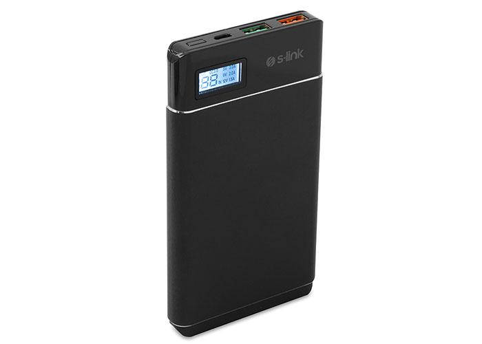 S-link IP-QC3-10 10000mAh Qualcomm 3.0 HIZLI ŞARJLI Powerbank Siyah Taşınabilir Pil Şarj Cihazı