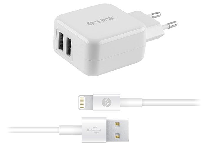 S-link Swapp IP-SW17 Çift Usb iPod/iPhone/iPad 5V 3.1A Apple Lisanslı Beyaz Ev Şarj Adaptör