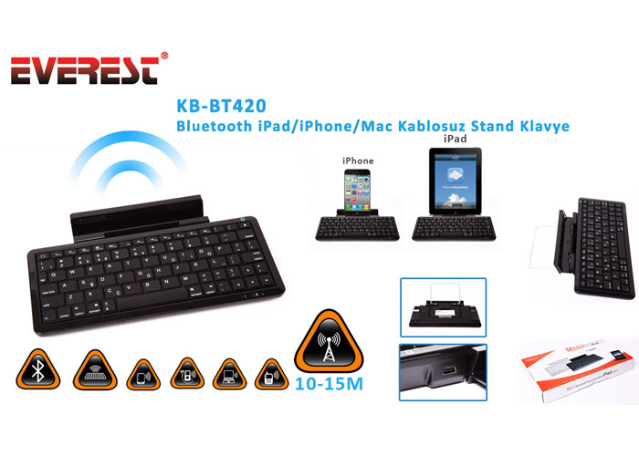 Everest KB-BT420 Siyah Bluetooth iPad/iPhone/Mac Q Multimedia Stand ve Kablosuz Klavye