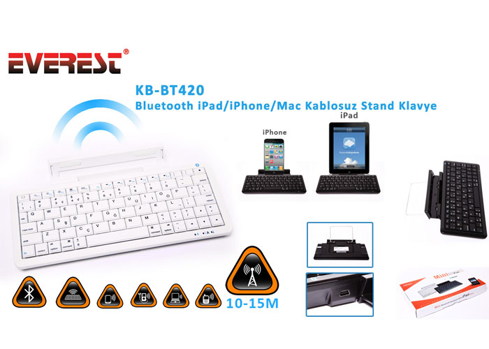 Everest KB-BT420 Beyaz Bluetooth iPad/iPhone/Mac Q Multimedia Stand ve Kablosuz Klavye