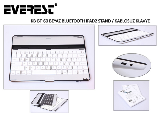 Everest KB-BT60 Beyaz Bluetooth iPad2 Q Multimedia Stand ve Kablosuz Klavye