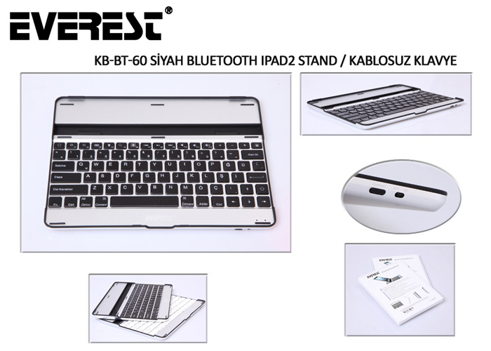 Everest KB-BT60 Siyah Bluetooth iPad2 Q Multimedia Stand ve Kablosuz Klavye