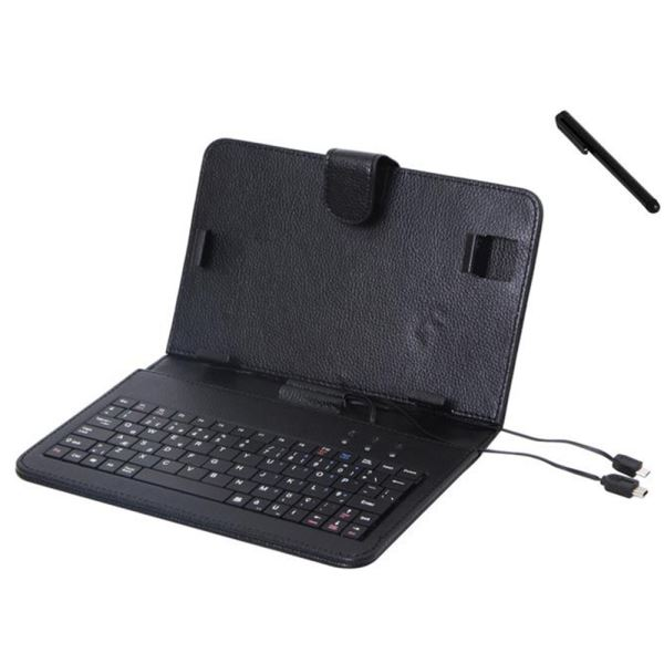 Everest KB-15 Siyah Mini 5pin + Micro 5pin 7 Tablet Pc Q Standart Klavye+Kılıf+Stand