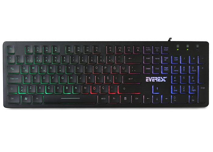 Everest KB-840 Siyah Renk Aydınlatmalı USB Q Standart Klavye