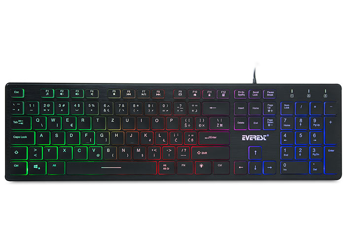 Everest KB-840 Black Color Backlit USB Croatian Layout Standard Keyboard