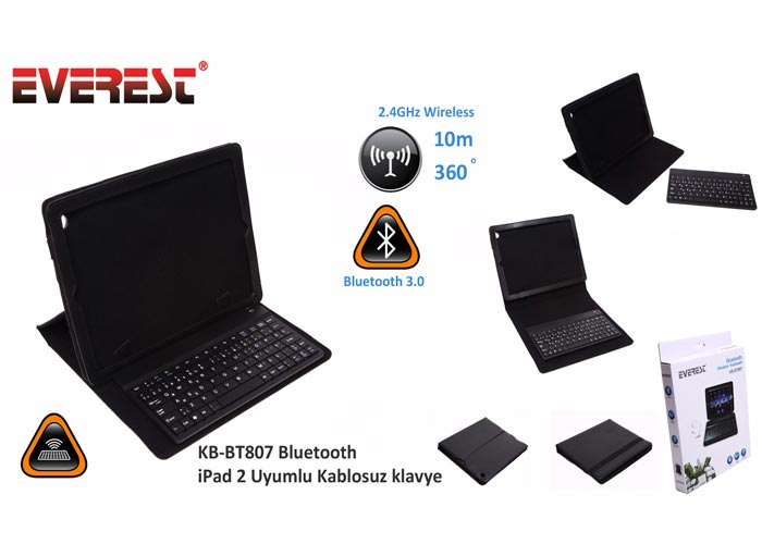 Everest KB-BT807 Bluetooth iPad 2 Uyumlu Q Multimedia Kablosuz klavye