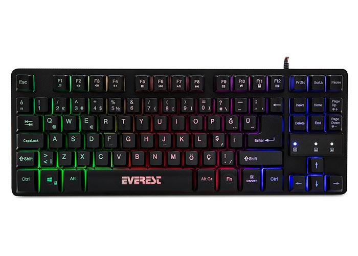 Everest KB-GX6 Siyah USB Gökkuşağı Renkli Aydınlatmalı Q Standart Gaming Klavye