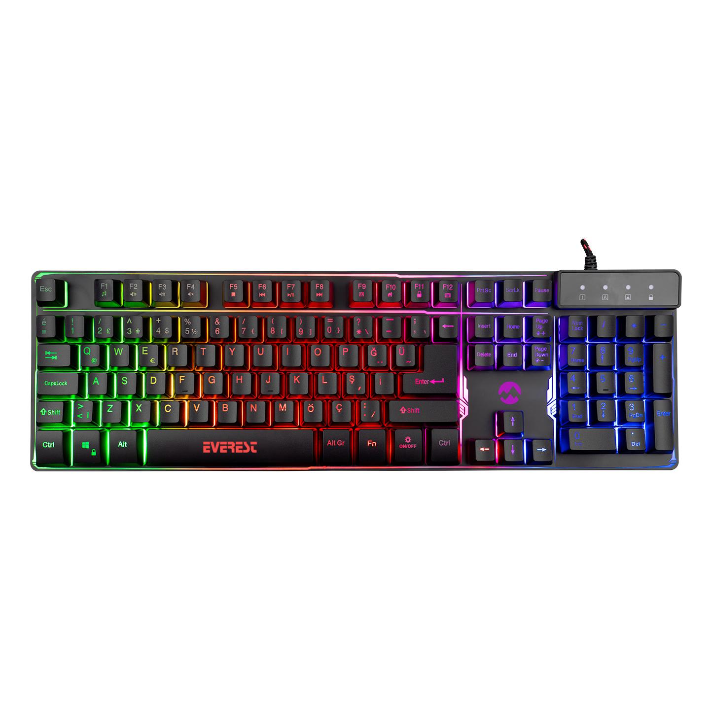 Everest KB-GX9 Siyah USB Gökkuşağı Renkli Aydınlatmalı Q Standart Gaming Klavye