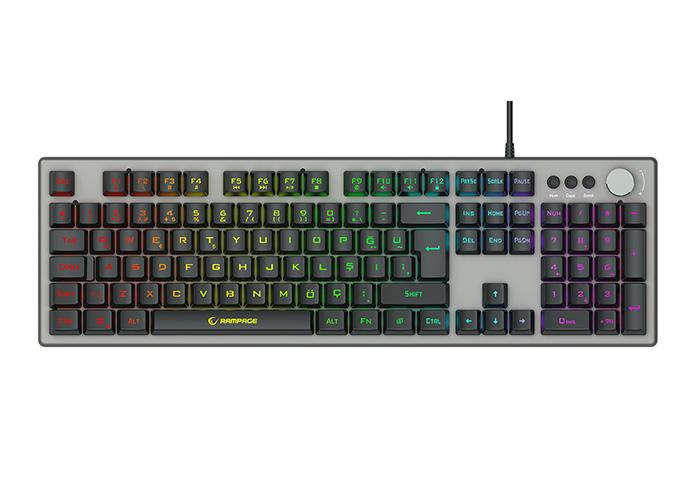 Rampage KB-R221 HANDY Rainbow Aydınlatmalı Metal Panel Gaming Oyuncu Klavyesi