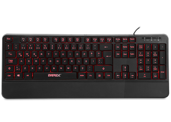 Everest KB-R61 BRIGHT Siyah USB 3 Renk Aydınlatmalı Q Sabit Bilek Destekli Multimedia Klavye