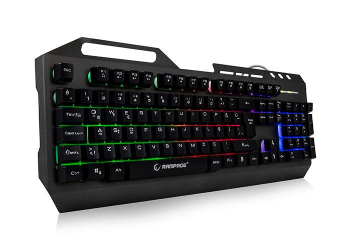 Rampage KB-R73 Gri/Siyah USB Aydınlatmalı Metal Kasa Q Gaming Klavye