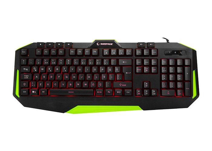 Rampage KB-RX7 ALPOR Yeşil USB 3 Renk Aydınlatmalı Q Gaming Klavye